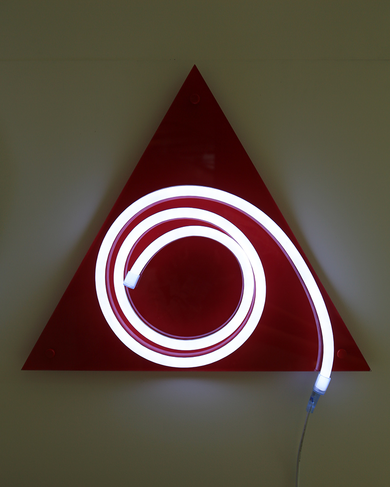 'He'   Light Emitting Diodes, plexiglass, vinyle  year: 2015  size: 500 mm triangle  SOLD