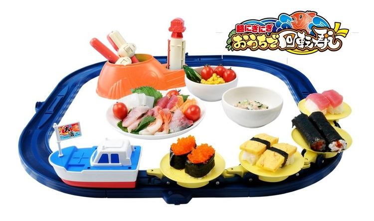 """Sushi blir en rolig lek för ungarna med detta""""kaiten-sushi""""-set."""