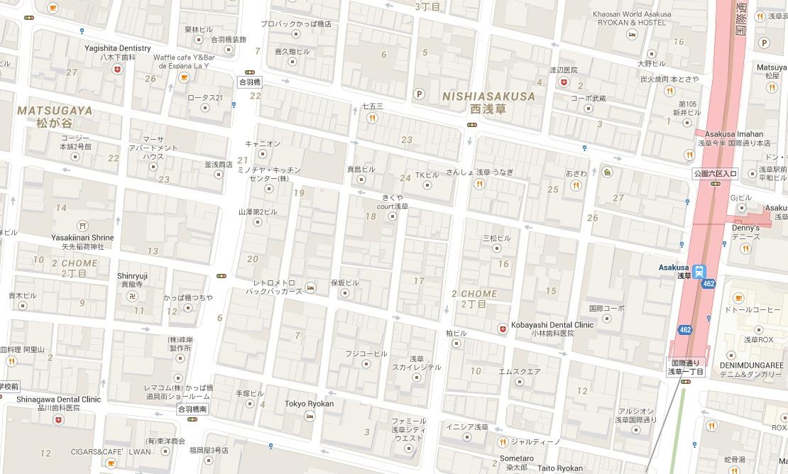 Googles kartor i Japan är bara delvis skrivna med latinska bokstäver och går inte ned på detaljnivå (husnumren är inte med).