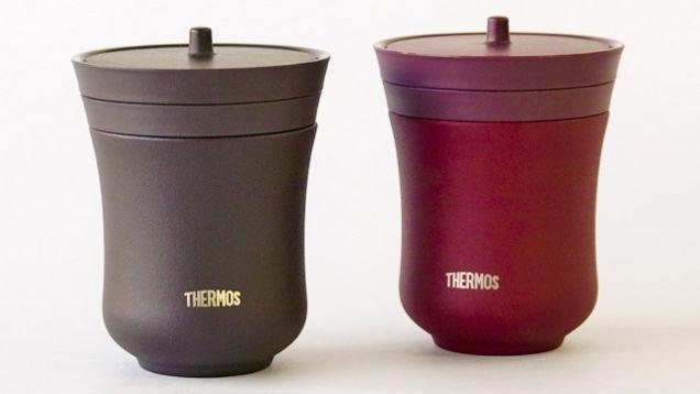 Thermos är stora i Japan och man utvecklar produkter enkom för den marknaden, som dessa isolerade tekoppar för den som vill kunna dricka i lugn och ro utan att teet kallnar i förtid.