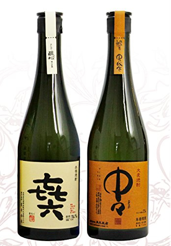 Kiroku till vänster, gjord på sötpotatis och Nakanaka till höger, gjord på korn.
