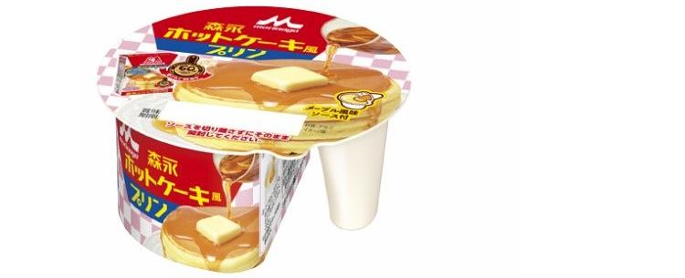 Pudding med smak av pannkaka. Den separata behållaren till höger innehåller sirap.  Foto: Morinaga