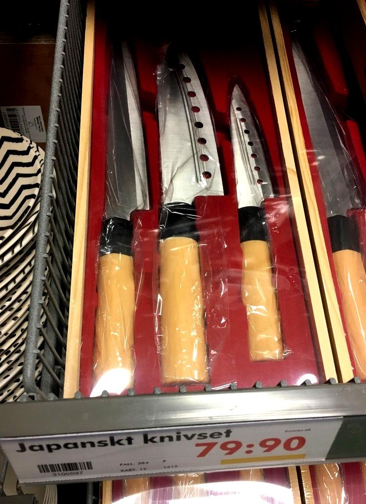 """""""Japanska knivar"""" till salu för en billig peng i Sverige.."""