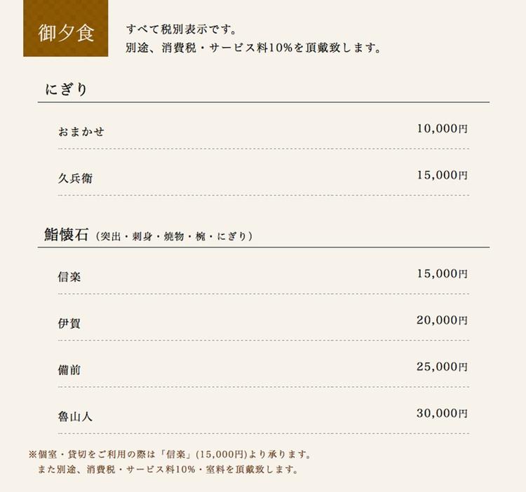 """Här har vi en typisk lyxmeny i Japan. Några typiska finstilta kommentarer är """"moms och en serviceavgift på 10% tillkommer"""" och """"för den som vill ha ett eget rum eller vill hyra hela krogen för en kväll, är minimibeställningen en meny för 15,000 yen per person; rumshyra tillkommer""""."""