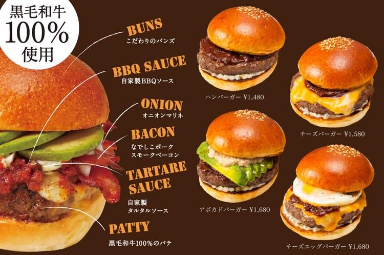 Yazawas hamburgerkrogar heter Blacows. 100% wagyu i alla burgare.