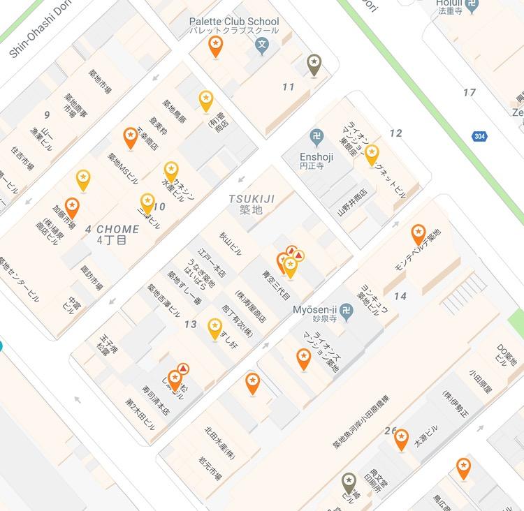 I specialistbyarna står en viss typ av krog som spön i backen. Här en kartbild över sushi-krogar i Tsukiji-området. En eller flera i varje kvarter.