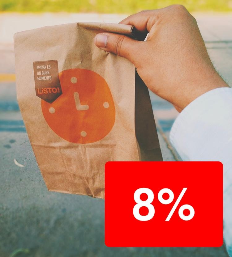 Men den förblir 8% om du köper mat för att ta med dig..  Foto: Edwin Macalopú Diaz via Unsplash