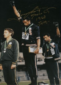 1968 Olympics Black Power Salute, Mexico City, signed by Tommy Smith, photographer unknown / AP, gifted to Autograph ABP by Iqbal Wahhab, courtesy of: Autograph ABP