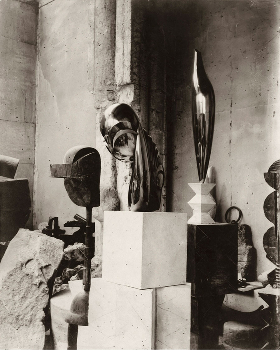 CONSTANTIN BRANCUSI, View of the studio: Plato, Mademoiselle Pogany II, and Golden Bird, c. 1920, gelatin silver print, 11 3/4 x 9 1/2 inches (29.8 x 24.1 cm). Private collection © 2014 Artists Rights Society (ARS), New York/ADAGP, Paris. From the exhibition IN THE STUDIO: PHOTOGRAPHS, curated by Peter Galassi, at Gagosian Gallery, FEBRUARY 17 - APRIL 18, 2015