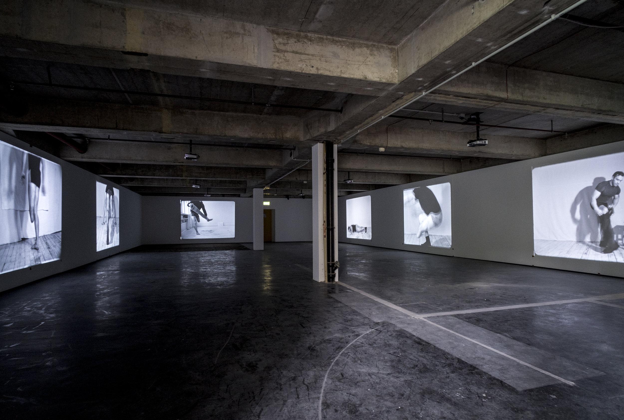 Artur Żmijewski, Realism , 2017, six channel video, Installation, Neue Neue Galerie (Neue Hauptpost), Kassel, documenta 14, Photo: Mathias Völzke