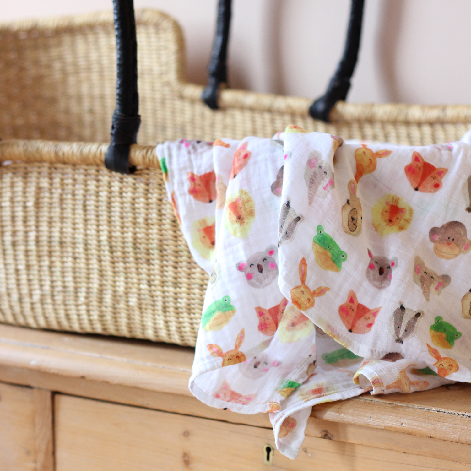 Animal Muslin Swaddle Blanket