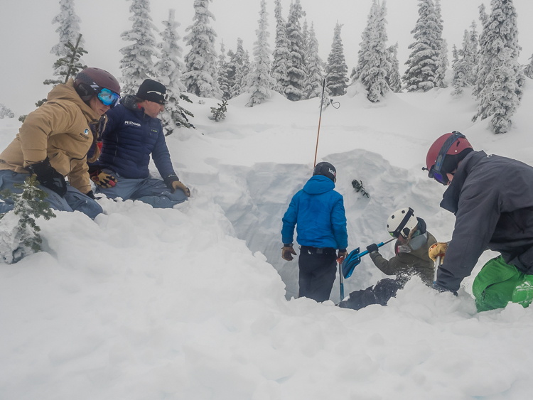 RIDGE ski academy students training for backcountry skiing