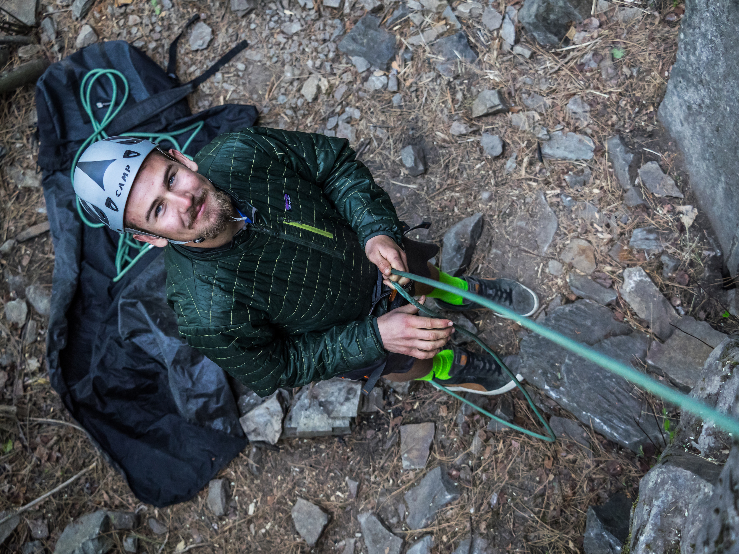 Timmy belaying another RIDGE student athlete during a RIDGE spring climbing trip.