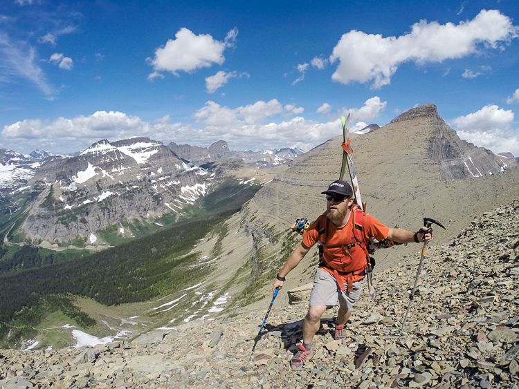 David searching for summer snow fields in Glacier N.P. Photo: David Steele