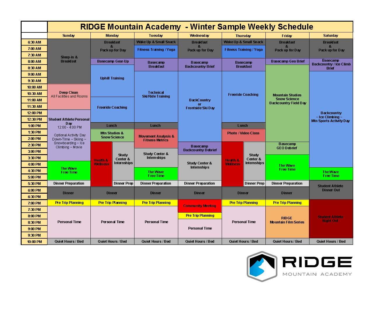 Below is a Sample Schedule of a week at RIDGE