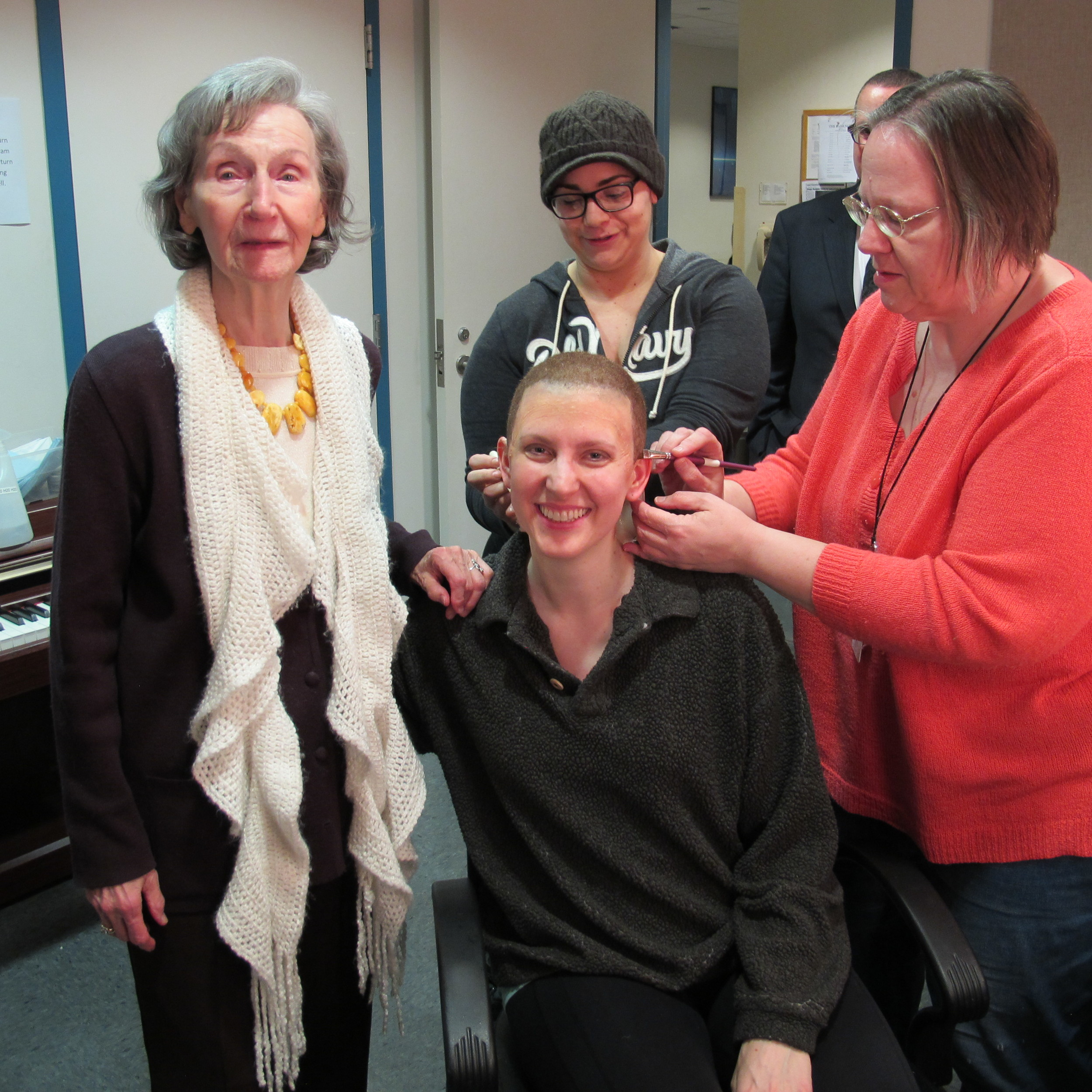 """Auschwitz survivor and author Zofia Posmysz meets with Gurnee native Amanda Majeski, seated, during her wig fitting to portray the concentration camp prisoner Marta in the Lyric Opera of Chicago premiere of """"The Passenger.""""Photo credit: Magda Krance"""
