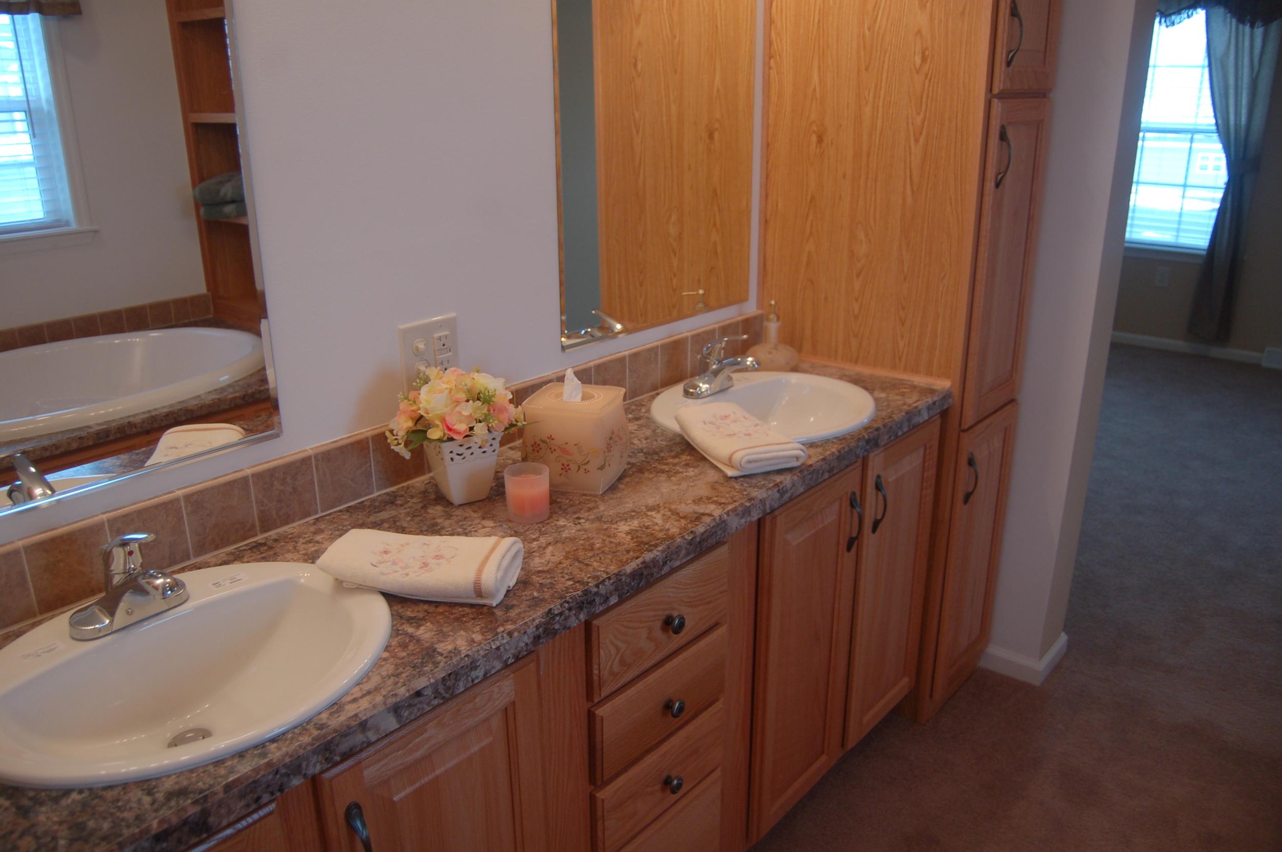Master Bath Double Vanity & Linen Cabinet (Natural Oak Cabinetry)