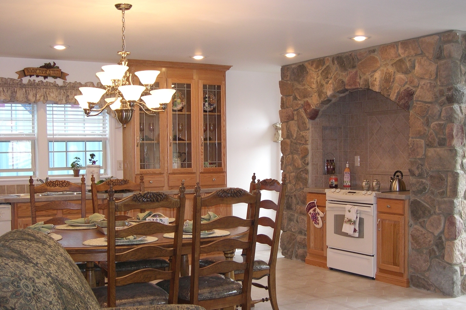 Stand-alone range area with floor-to-ceiling hand-laid Bucks County Rubble stone