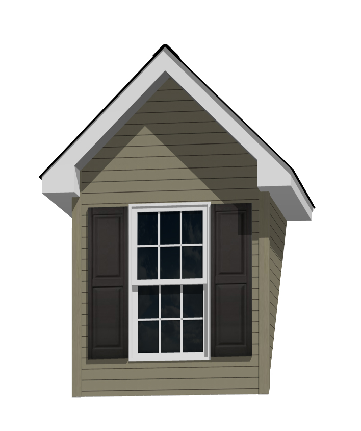 6' Doghouse Dormer for a 12-12 Pitch Roof with 2446 and Shutters