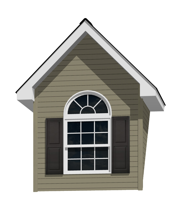 7' Doghouse Dormer for a 12-12 pitch roof with 3040 circle top window