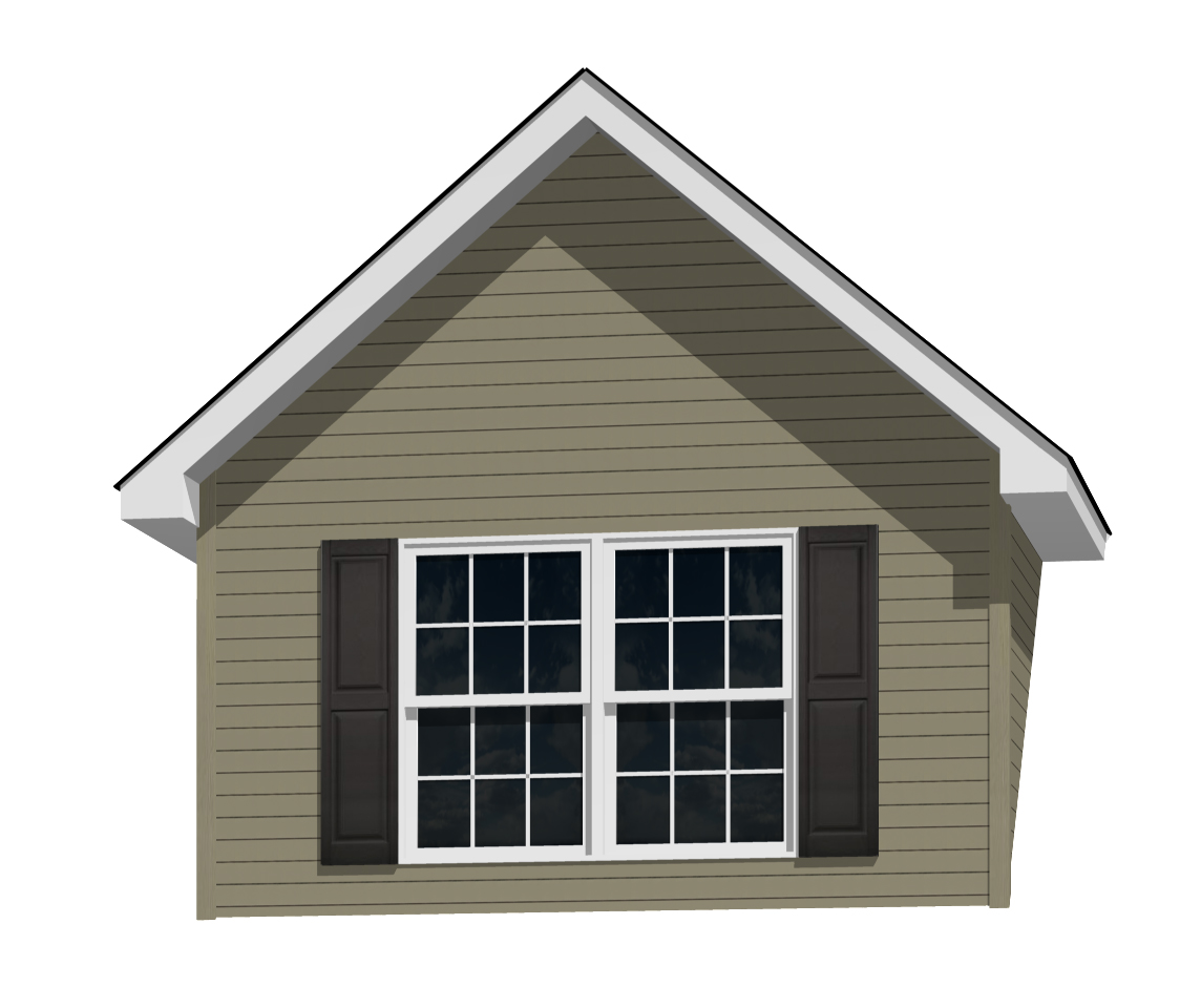 12' Doghouse Dormer for a 12-12 Pitch Roof with (2) 3046 Windows and Shutters
