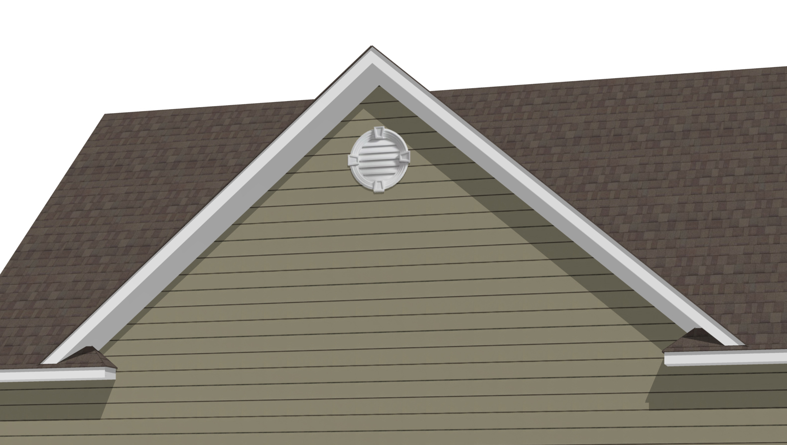 26'6' Reverse Gable Dormer 12-12 on 12-12 with optional cornice returns and decorative molding