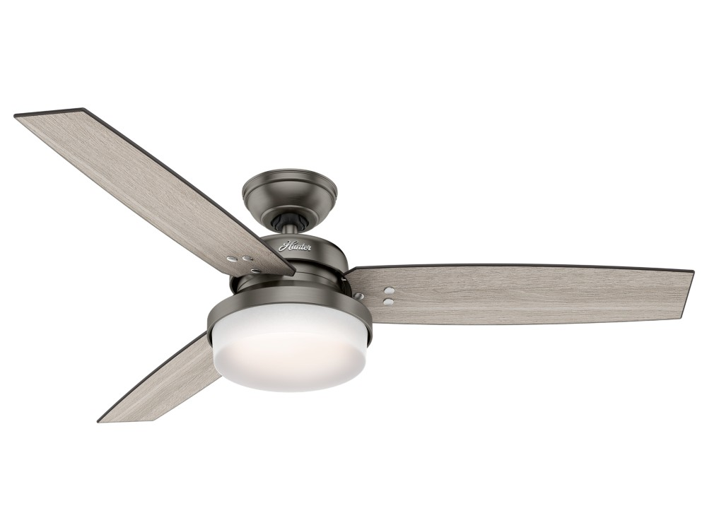 "Hunter ""Sentinal"" 52"" 3-Blade Ceiling Fan - Brushed Slate with Reversible Blades - Light Grey Oak / Grey Walnut (59211)"