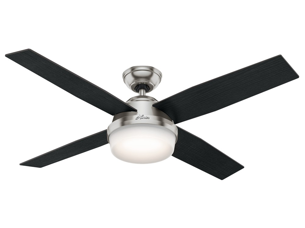 "Hunter ""Dempsey"" 52"" 4-Blade Ceiling Fan - Brushed Nickel with Reversible Blades - Black Oak / Chocolate Oak Grain (59216)"