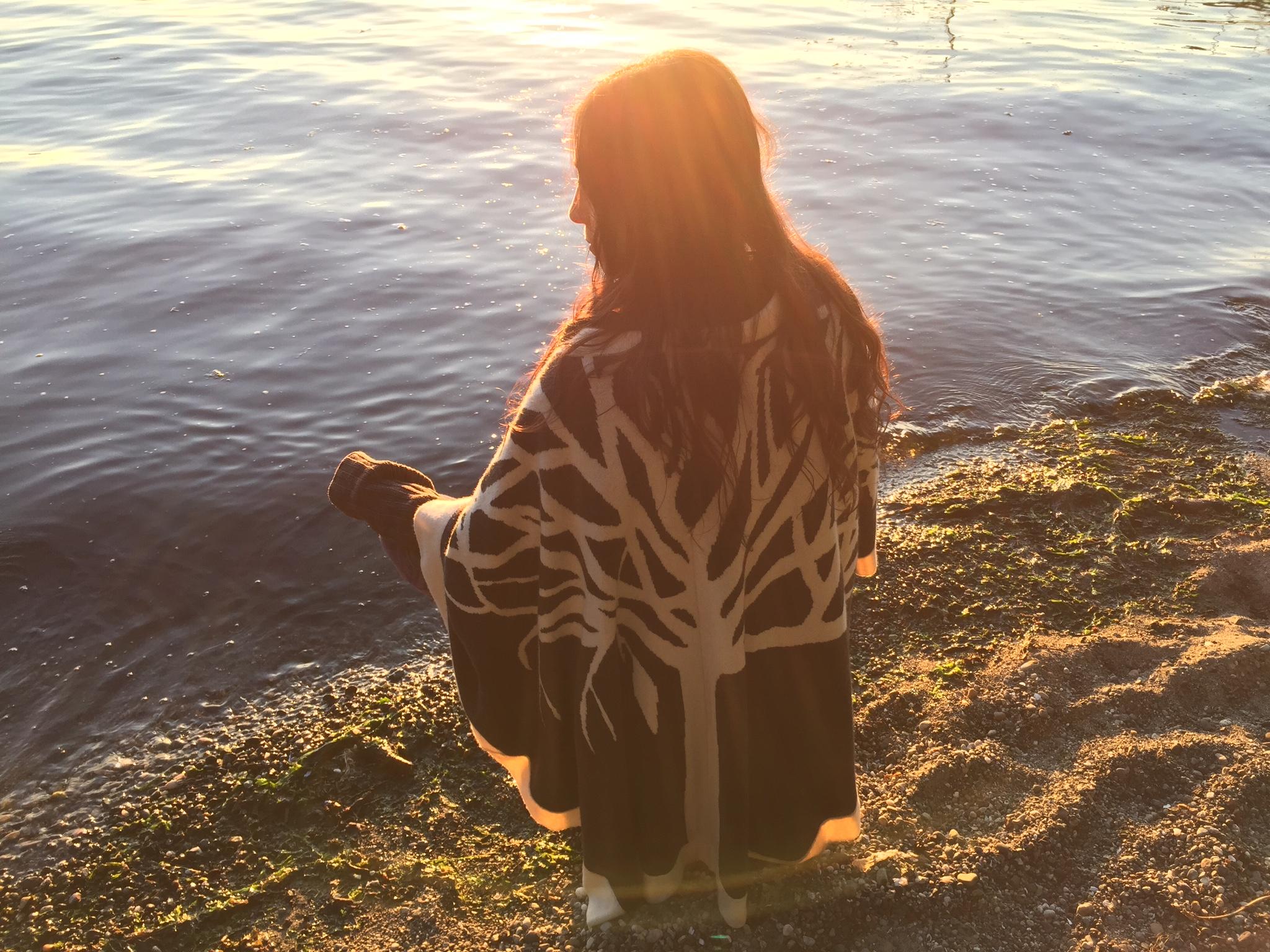 Dr. Eden Fromberg at a tidal estuary on Vashon Island, Washington
