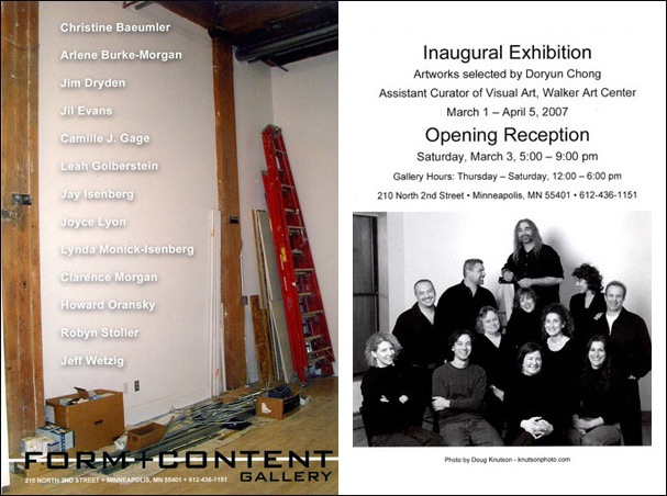 Form + Content Gallery Inaugural Exhibition Postcard- March 2007
