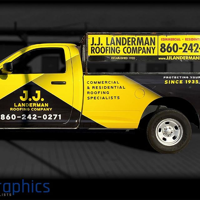 A clean look for J.J. Landerman Roofing Company ! #roofing #wraps #carwraps #graphics #print #printandwrap #localCT #localbusiness #smallbusiness #GlastonburyCT #BloomfieldCT #businesstobusiness Please reach out if your business vehicle needs a new look