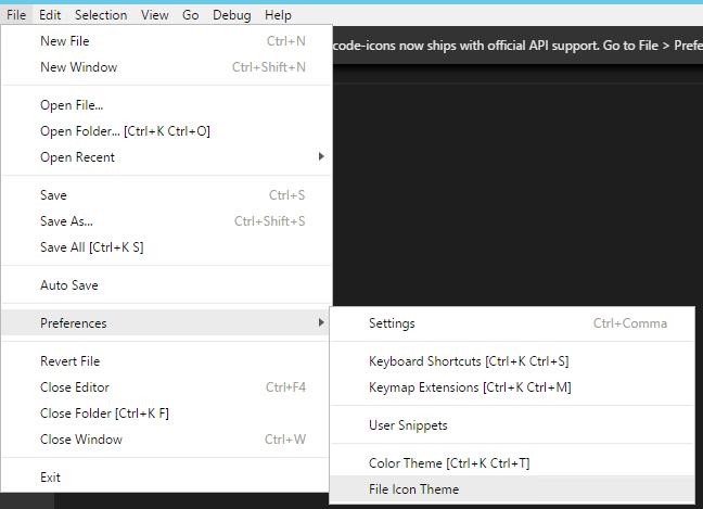 Click File -> Preferences -> File Icon Theme...