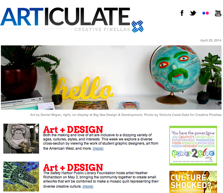Image featured on ARTICULATE's weekly newsletter
