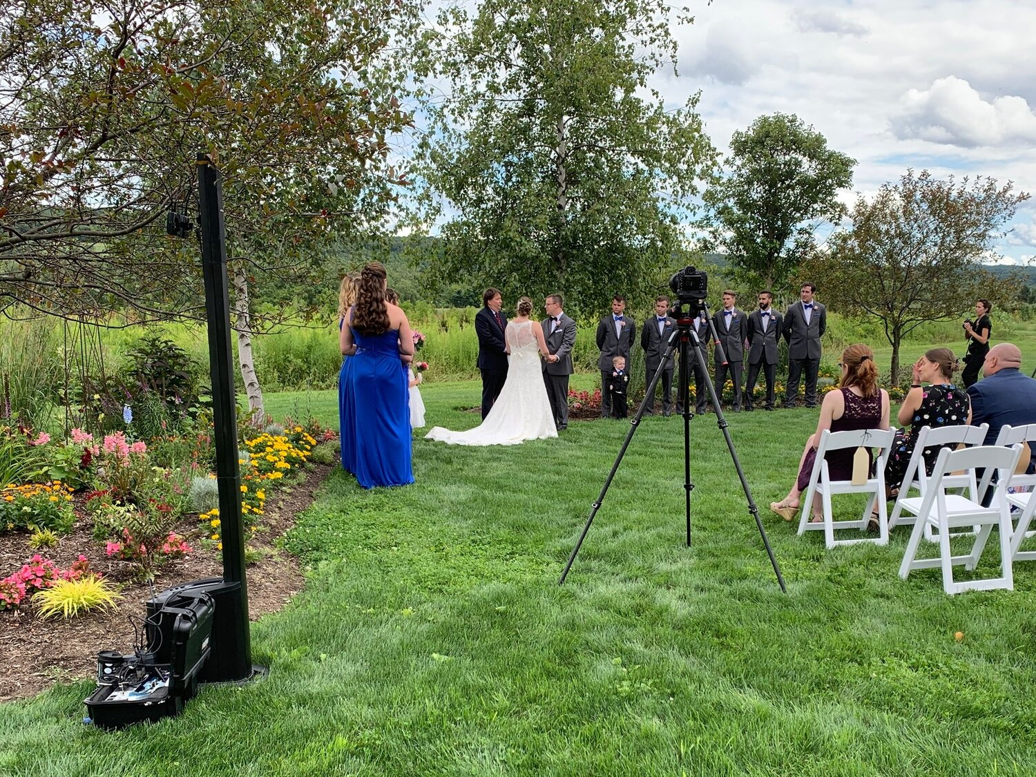 Wedding Ceremony at The Orchard at Rocking Horse Farm, Jamesville NY.
