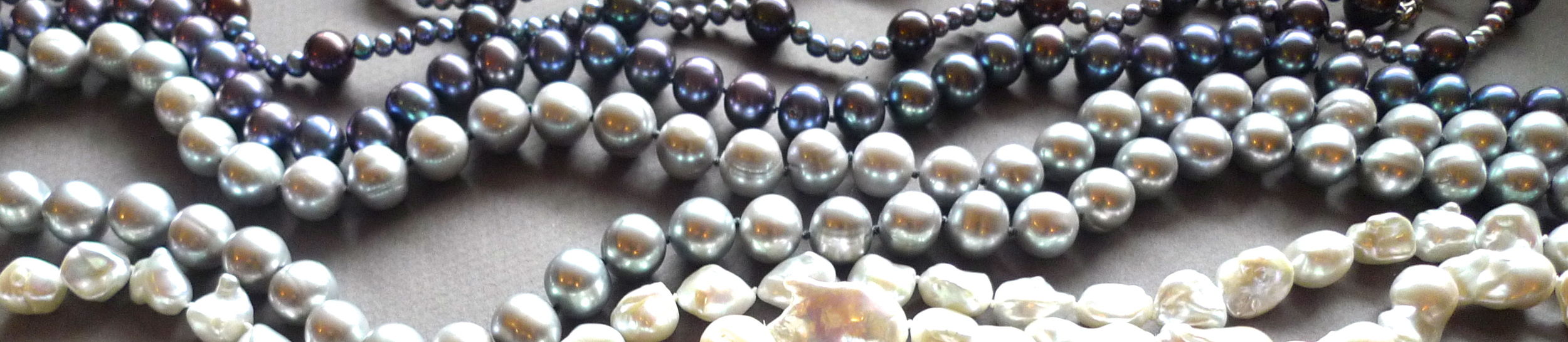 Some of Judi's beautiful pearl necklaces.