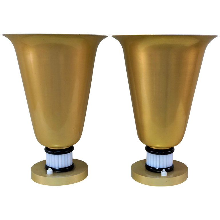 Pair Of French Art Deco Torchiere Table, Torchiere Table Lamps