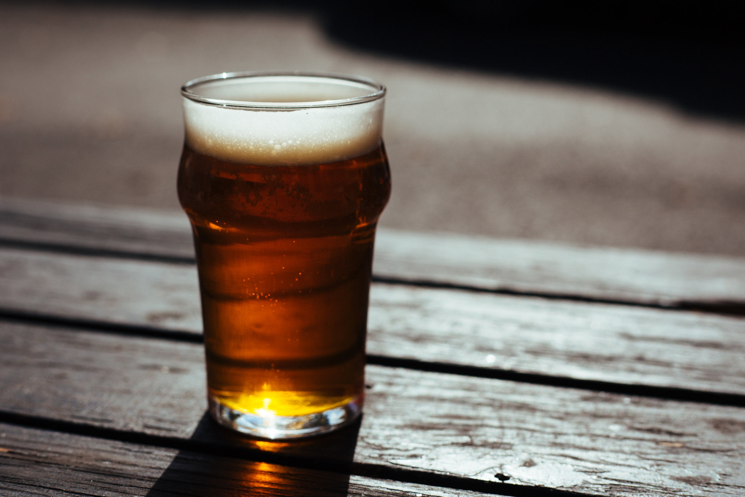 Beer Pint on Picnic Table