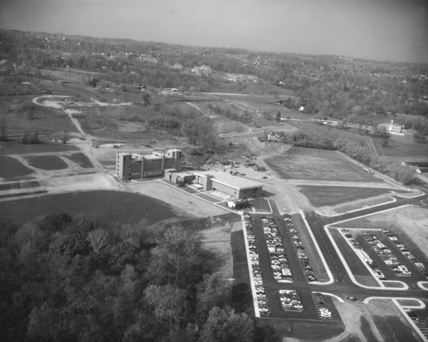 UMBC c. 1964. The Hillcrest Criminal Building (upper right side) served as the university's administration building during the first years. Image courtesy of UMBC Special Collections.