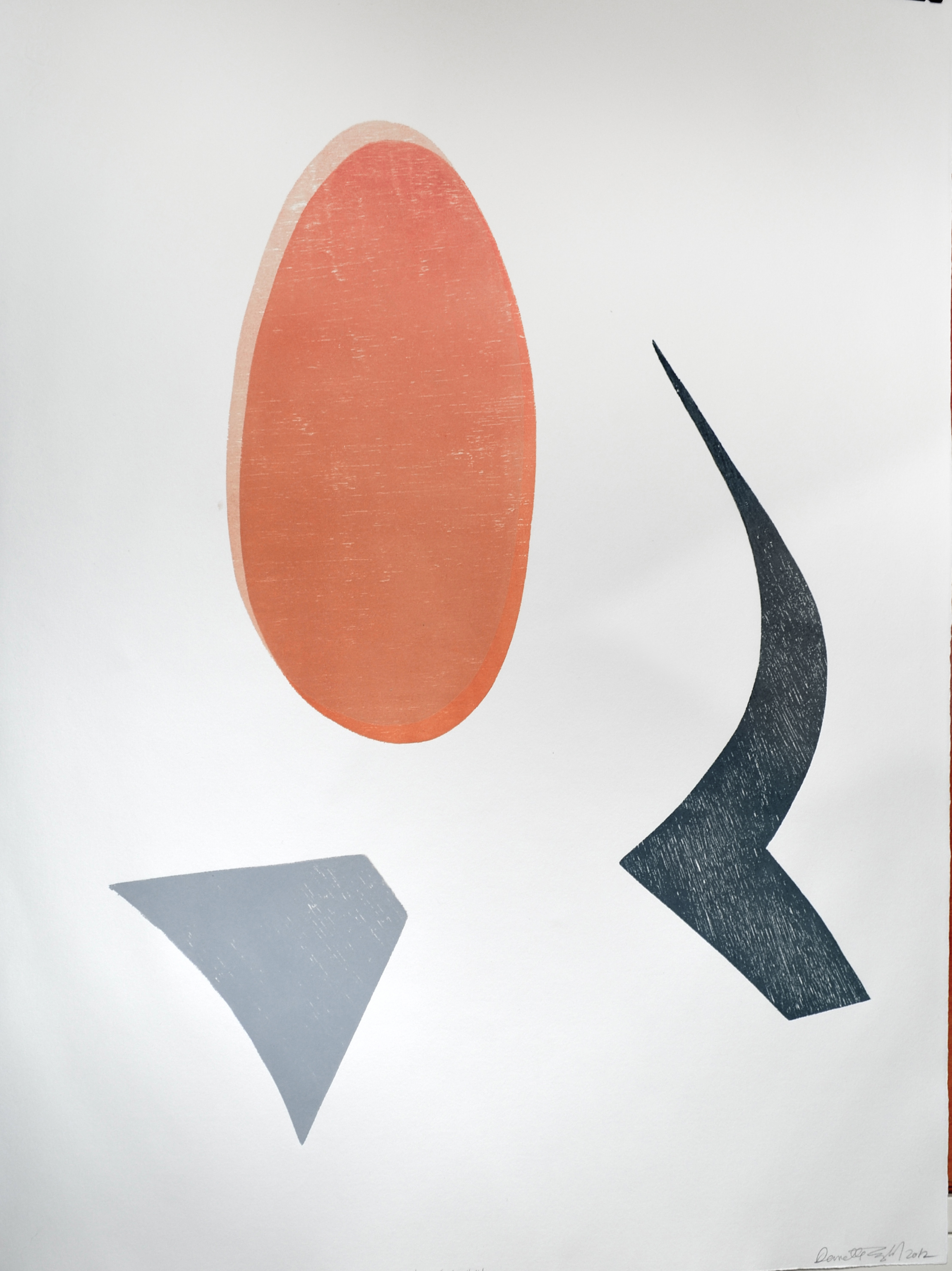 DANETTE ENGLISH  Vase Series #14  2012 relief monoprint on paper, 30 x 22 inches