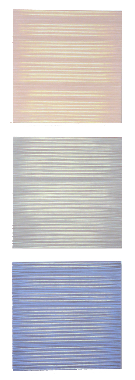 SUSAN SCHWALB  Palimpsest Triptych #7  2006 silverpoint and acrylic on wood panel 8 x 8 inches each panel • 26 x 8 inches overall