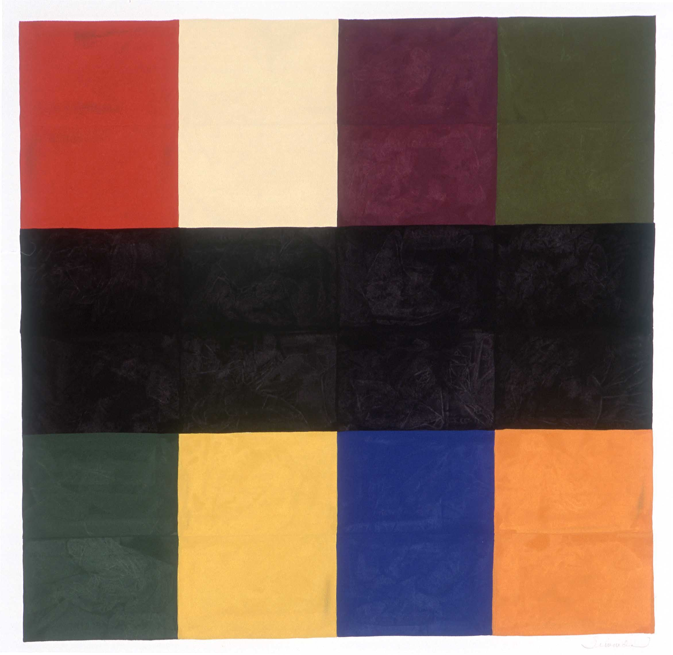 NANCY SIMONDS  Black Bar Bisect  gouache on paper, 42 x 42 inches