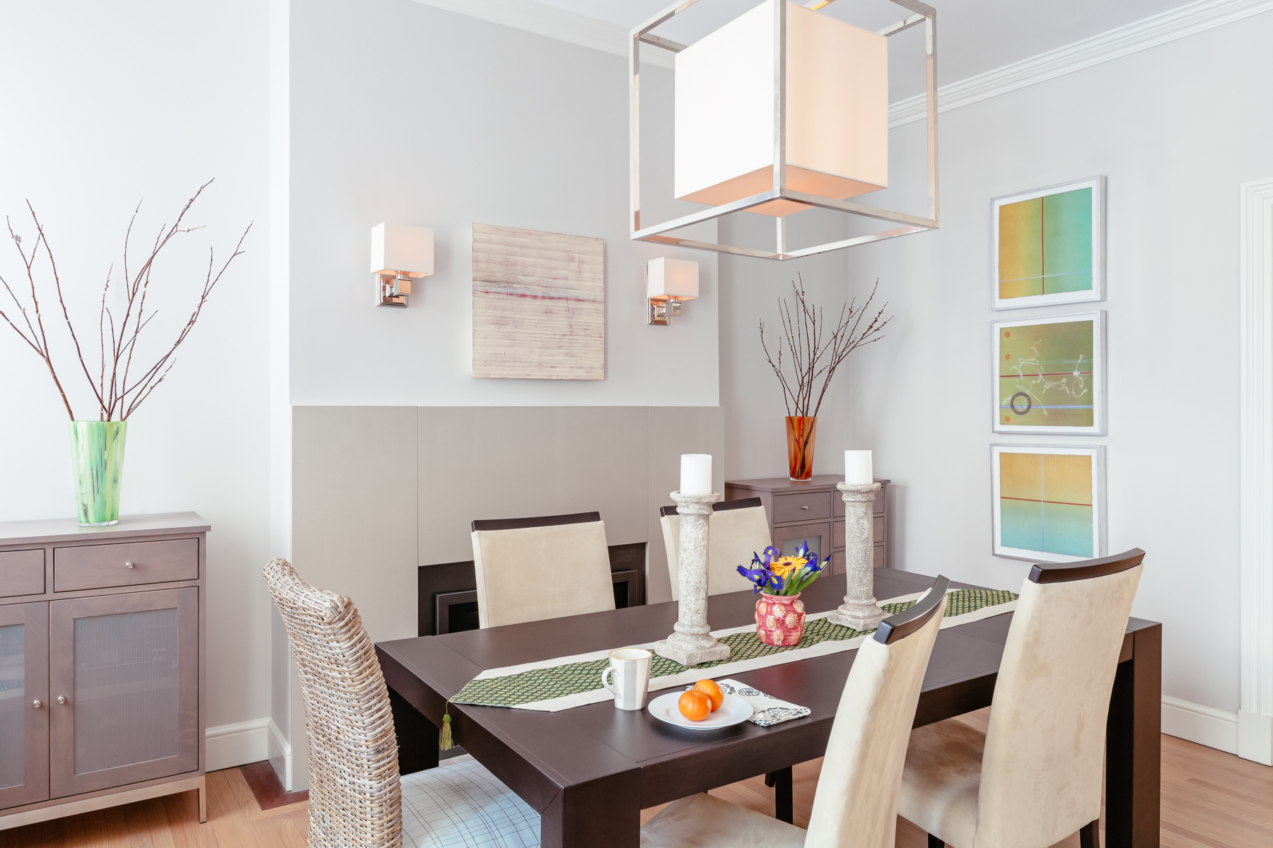 Dining room, Brookline residence Painting by SUSAN SCHWALB / monoprints by PEGGY BADENHAUSEN