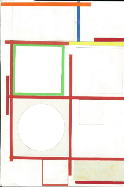 SUZANNE ULRICH  No. 1383 - 10.4.06  cut, torn, pasted papers with gouache on paper, 14 7/8 x 11 1/8 inches