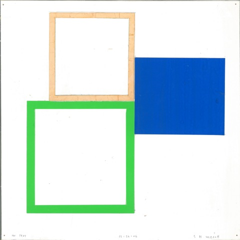 SUZANNE ULRICH  No. 1401 - 12.26.06  cut, torn, pasted papers with gouache on paper, 10 x 10 inches