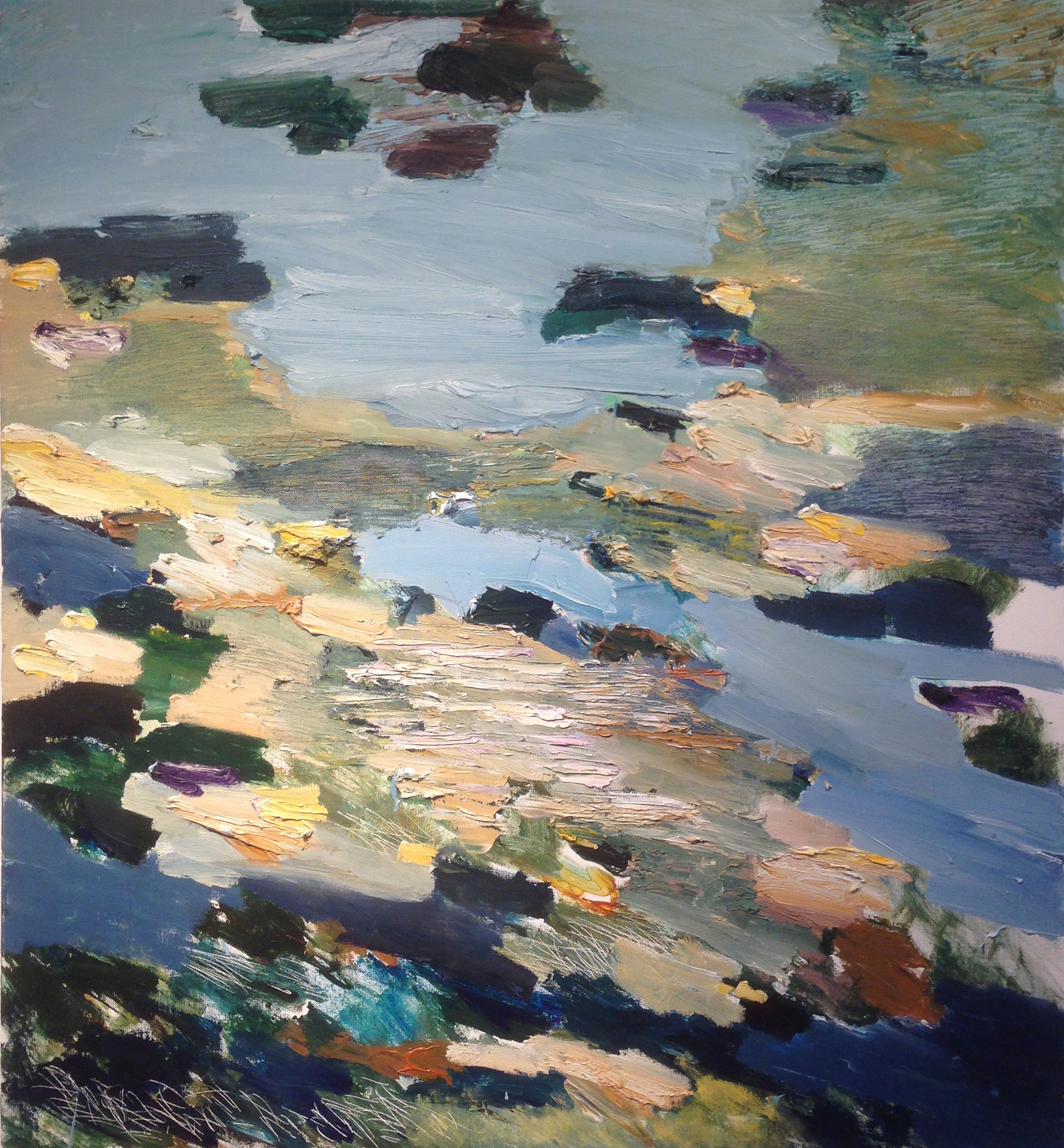 JOHN VINTON   Rocky Shore at Eastern Point  oil and acrylic on canvas, 42 x 38 inches