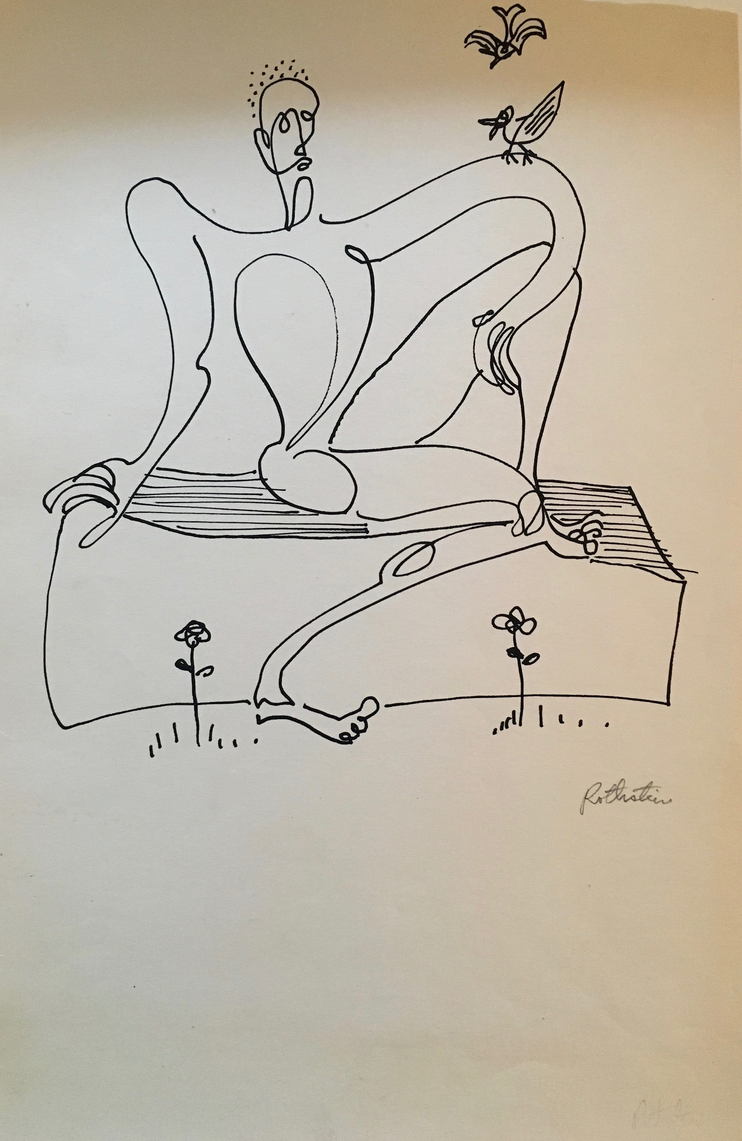 JEROME HENRY ROTH   Park Bench 1930's  ink on paper 6 1/2 x 10 1/2 inches