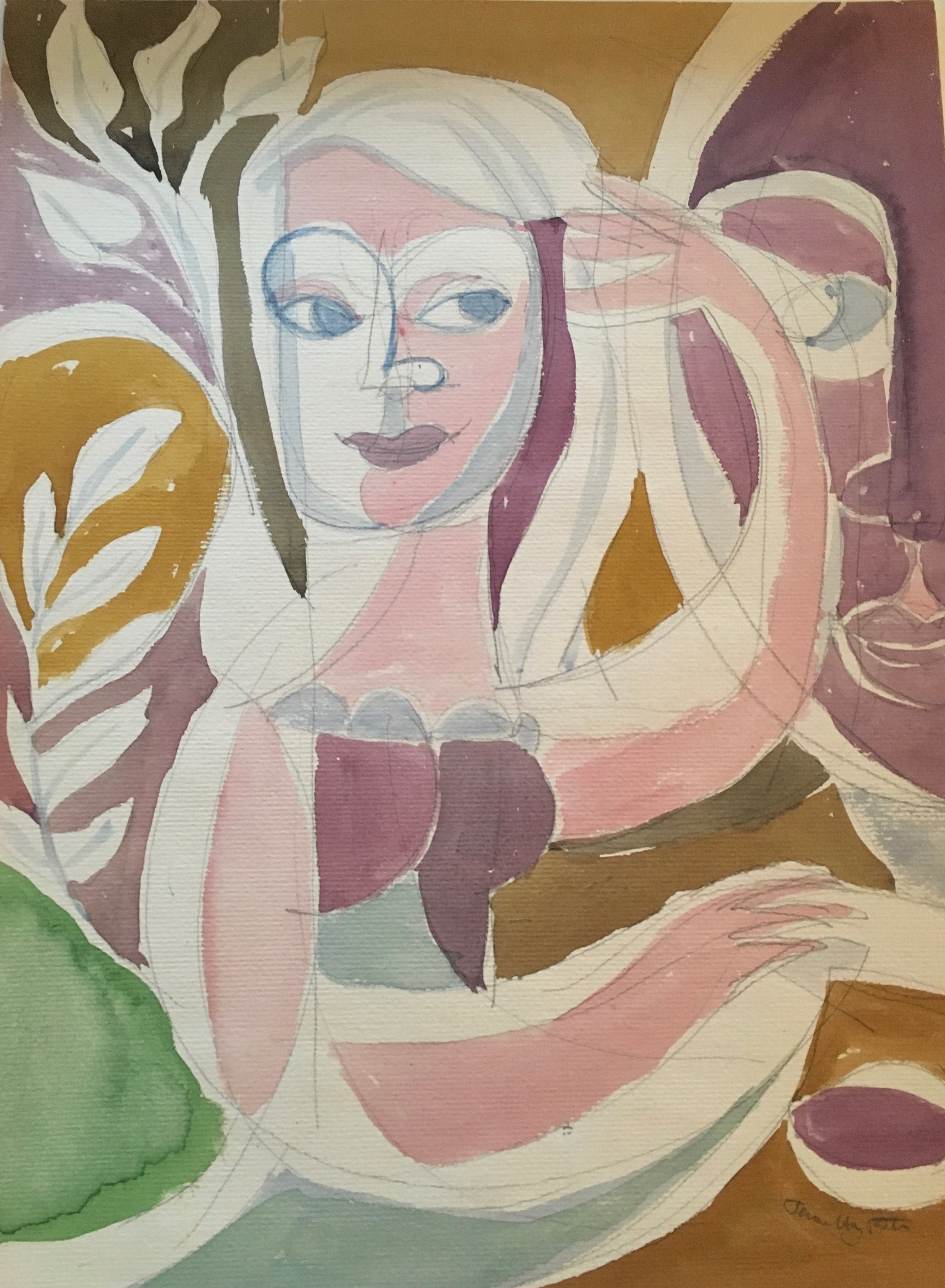 JEROME HENRY ROTH   Make-up 1950's  gouache and pencil on paper, 14 1/2 x 11 inches
