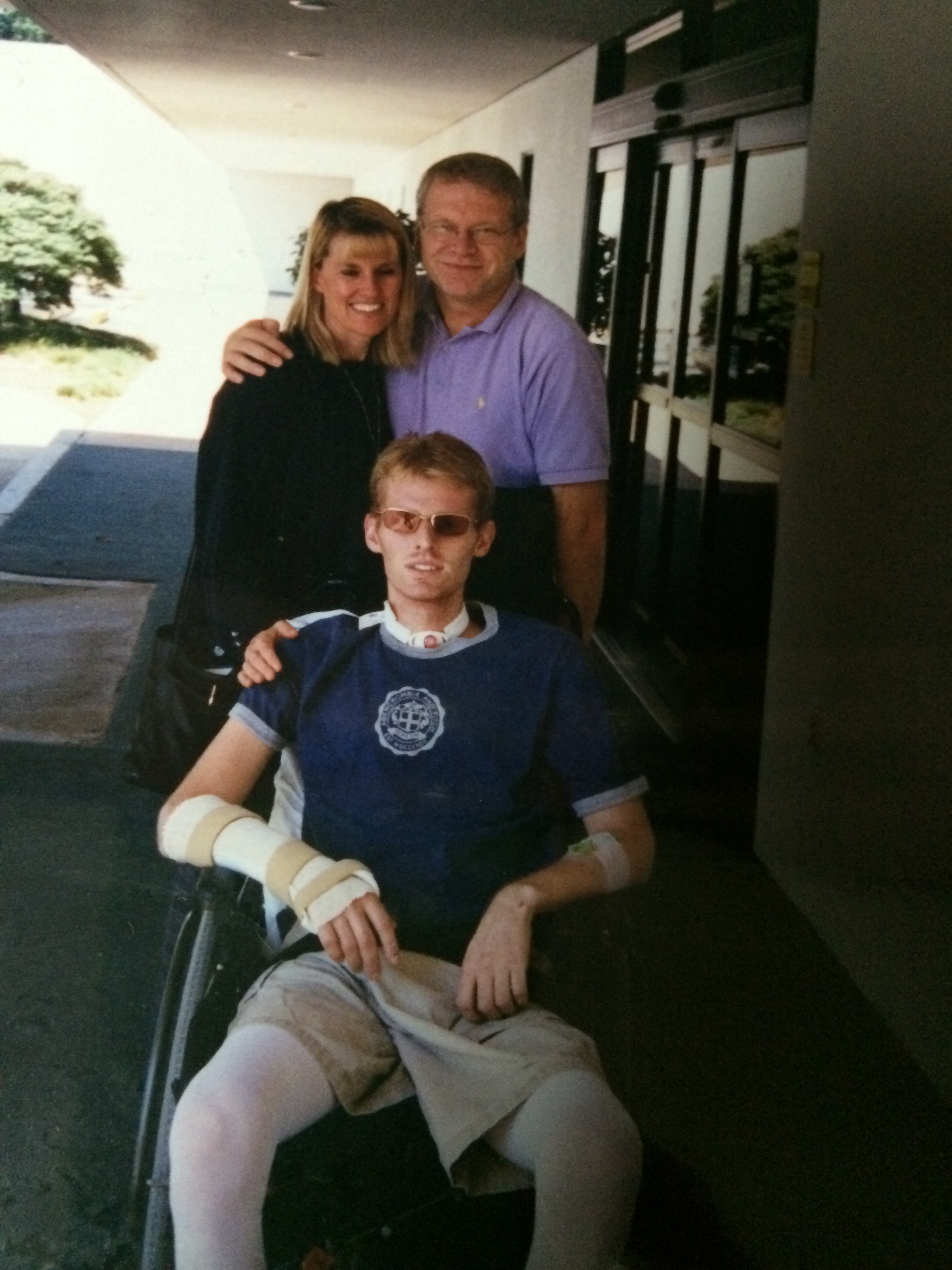 Paul, Carol and our precious Jay 5 weeks after the accident - we are smiling with joy because he is alive!