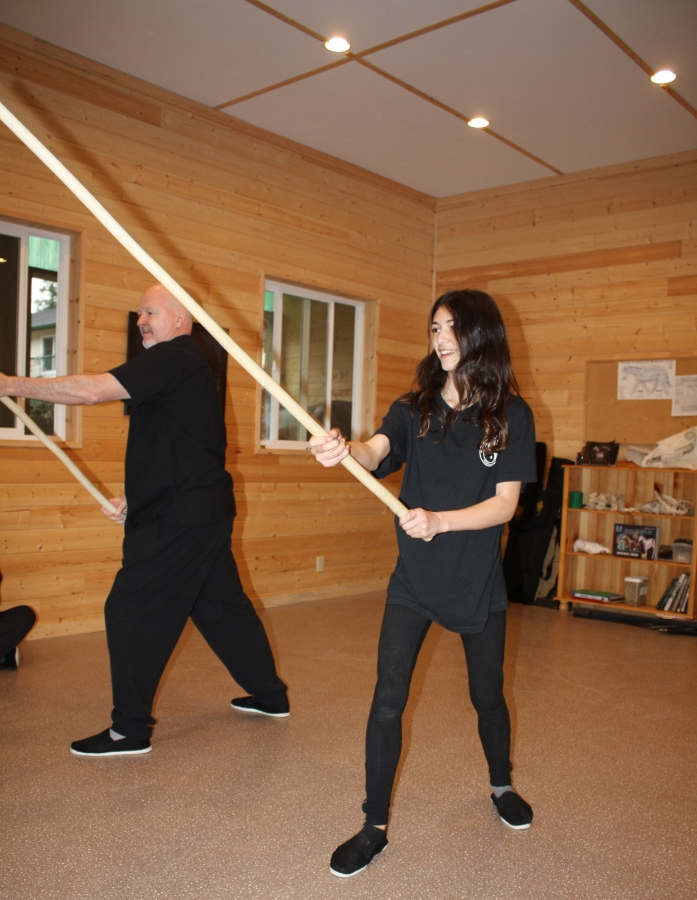 Tom and Zahra doing the Shaolin Staff, mirrored. January 2015