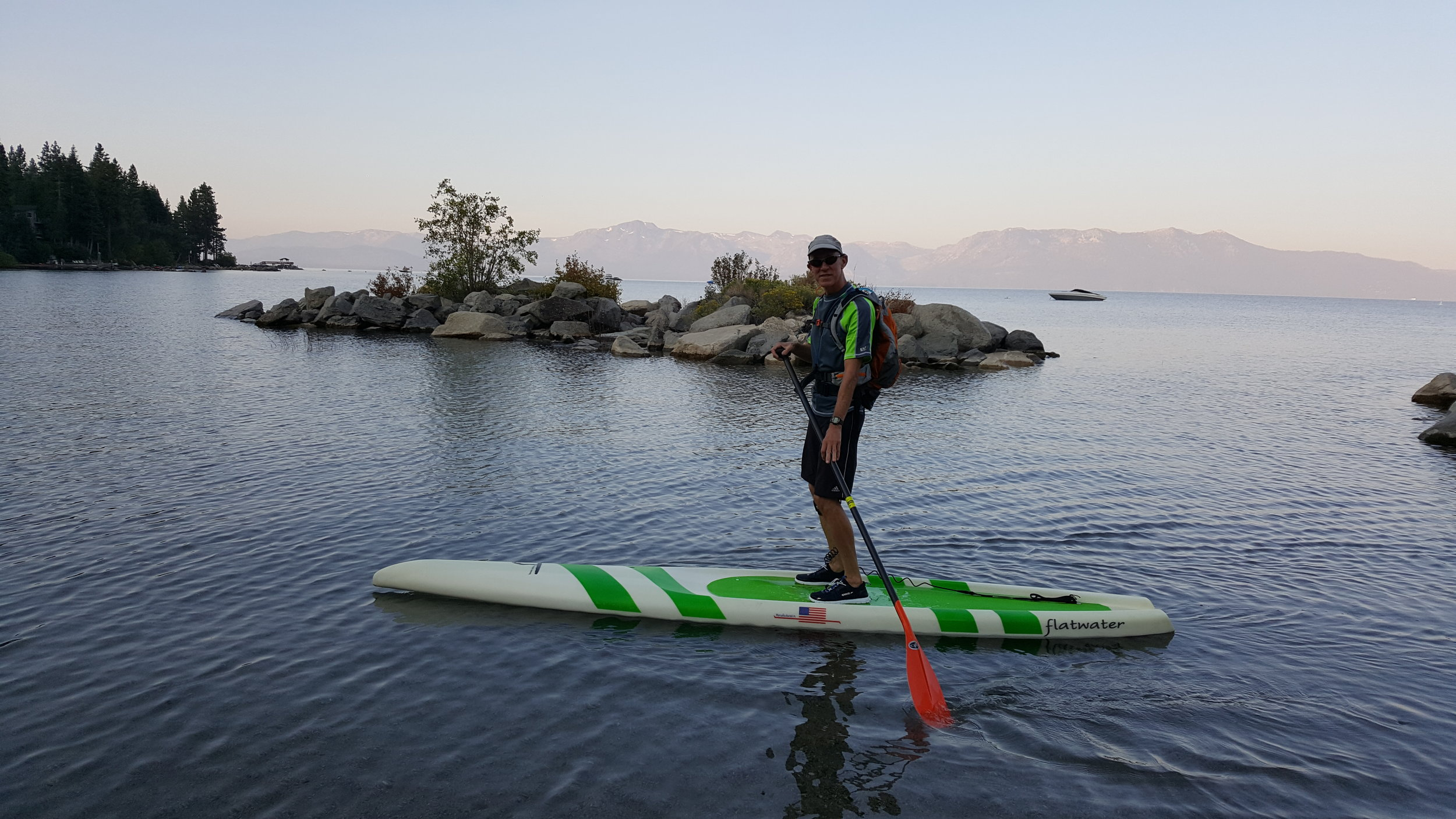 Mike's Paddle Intro to SUP Instructor Tom Logue at Cave Rock Put-induring his circumnavigation of Lake Tahoe in 2017.